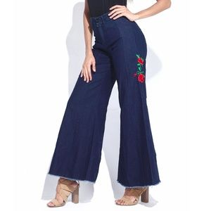 Dark Indigo Embroidered High-Waist Palazzo Pants M